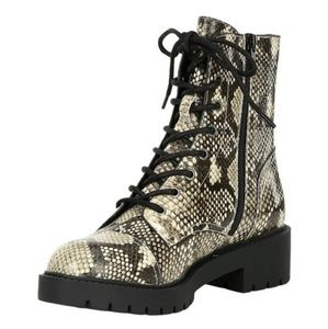 Leather snakeskin combat hiking boots Shoes womens